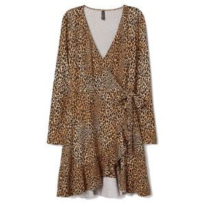 H&M leopard print wrap dress L